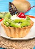 Torta con il kiwi Fotografie Stock Libere da Diritti