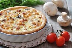 Torta con il pollo ed il fungo Fotografie Stock