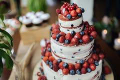 Torta con la fresa y los arándanos fotografía de archivo