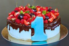 Torta con la fruta fresca Foto de archivo libre de regalías