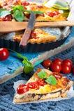 Torta con la mozzarella, il pollo ed i pomodori. Immagini Stock Libere da Diritti