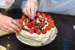 Torta con las bayas y la crema Fotografía de archivo libre de regalías