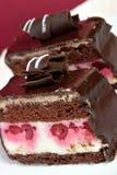 Torta con las frambuesas y el chocolate Imágenes de archivo libres de regalías