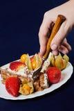 Torta con las fresas y el physalis Imagen de archivo libre de regalías