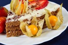 Torta con las fresas y el physalis Imagenes de archivo