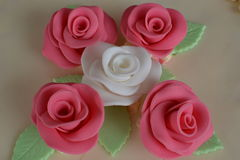 Torta con las rosas Fotografía de archivo libre de regalías