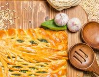 Torta con le cipolle e le uova Immagini Stock Libere da Diritti