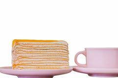 Torta con una taza de café Foto de archivo libre de regalías