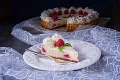 Torta crema del lampone fresco e delizioso Immagine Stock Libera da Diritti