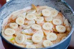 Torta crua da banana de maçã Fotografia de Stock