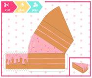 Torta 3d colorida do bolo Jogo de papel da educação para crianças do preshool Ilustração do vetor ilustração do vetor