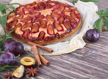 Torta da ameixa com ameixas frescas Fotos de Stock Royalty Free
