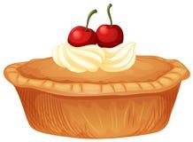 Torta da cereja com as cerejas de creme e frescas ilustração royalty free
