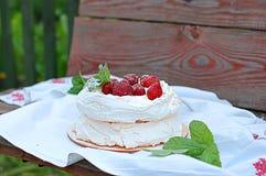 Torta da merengue com morangos imagem de stock
