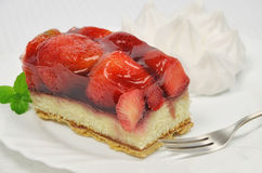 Torta da morango com chantiliy Fotos de Stock
