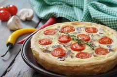 Torta da quiche com o tomate da galinha e de cereja Imagens de Stock