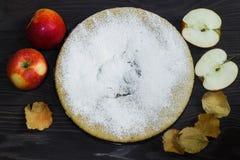 Torta de Apple caseiro no fundo, no humor do outono, nas folhas e em maçãs de madeira marrons imagem de stock royalty free