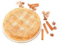 Torta de Apple com canela, anis, noz-moscada Fotografia de Stock