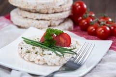 Torta de arroz con el queso cremoso Imagen de archivo libre de regalías