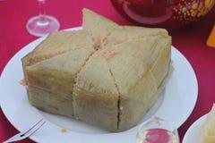 Torta de arroz pegajosa cuadrada cocinada, comida vietnamita del Año Nuevo Foto de archivo libre de regalías