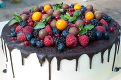 Torta de Bela con las bayas y el chocolate imagen de archivo libre de regalías