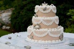 Torta de boda única Foto de archivo libre de regalías