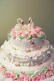 Torta de boda adornada con las rosas rosadas frescas. Fotografía de archivo libre de regalías