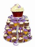 Torta de boda - magdalenas coloridas aisladas en blanco Imágenes de archivo libres de regalías