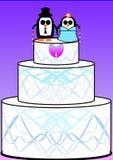 Torta de boda oculta del pingüino imagen de archivo