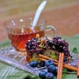 Torta de café del arándano, cuadrado Imagen de archivo libre de regalías