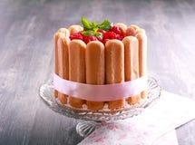 Torta de Charlotte de la frambuesa servida Fotografía de archivo libre de regalías