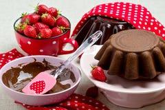 Torta de chocolate Adornamiento con la formación de hielo y fresas del chocolate Fotografía de archivo