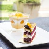 Torta de chocolate anaranjada de la torta Imagenes de archivo