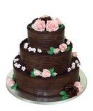 Torta de chocolate con gradas tres Fotos de archivo libres de regalías