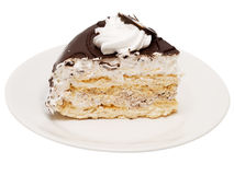 Torta de chocolate con la crema blanca Foto de archivo