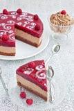 Torta de chocolate con la jalea de la frambuesa foto de archivo libre de regalías