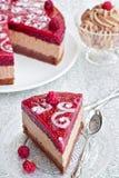 Torta de chocolate con la jalea de la frambuesa imagen de archivo