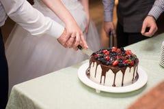 Torta de chocolate con las bayas fotografía de archivo libre de regalías