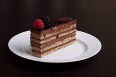 Torta de chocolate de la ópera fotografía de archivo