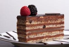 Torta de chocolate de la ópera Foto de archivo libre de regalías