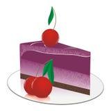 Torta de chocolate de la pequeña fruta con las bayas de la cereza Imagen de archivo libre de regalías