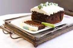 Torta de chocolate del brownie del amaranto Fotos de archivo