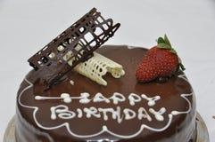 Torta de chocolate del feliz cumpleaños Imagen de archivo