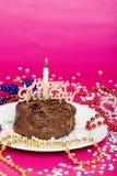 Torta de chocolate del feliz cumpleaños Imágenes de archivo libres de regalías