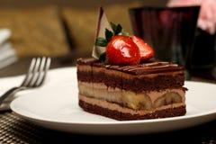 Torta de chocolate del plátano fotos de archivo libres de regalías