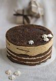 Torta de chocolate deliciosa con el merengue Imagenes de archivo