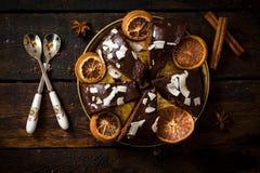 Torta de chocolate dulce Fotos de archivo