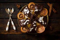 Torta de chocolate dulce Foto de archivo libre de regalías