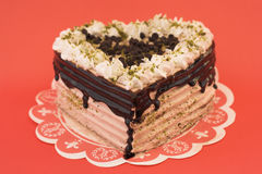 Torta de chocolate en forma de corazón Fotografía de archivo libre de regalías