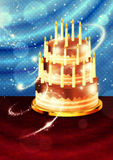 Torta de chocolate en la tabla Imagen de archivo libre de regalías